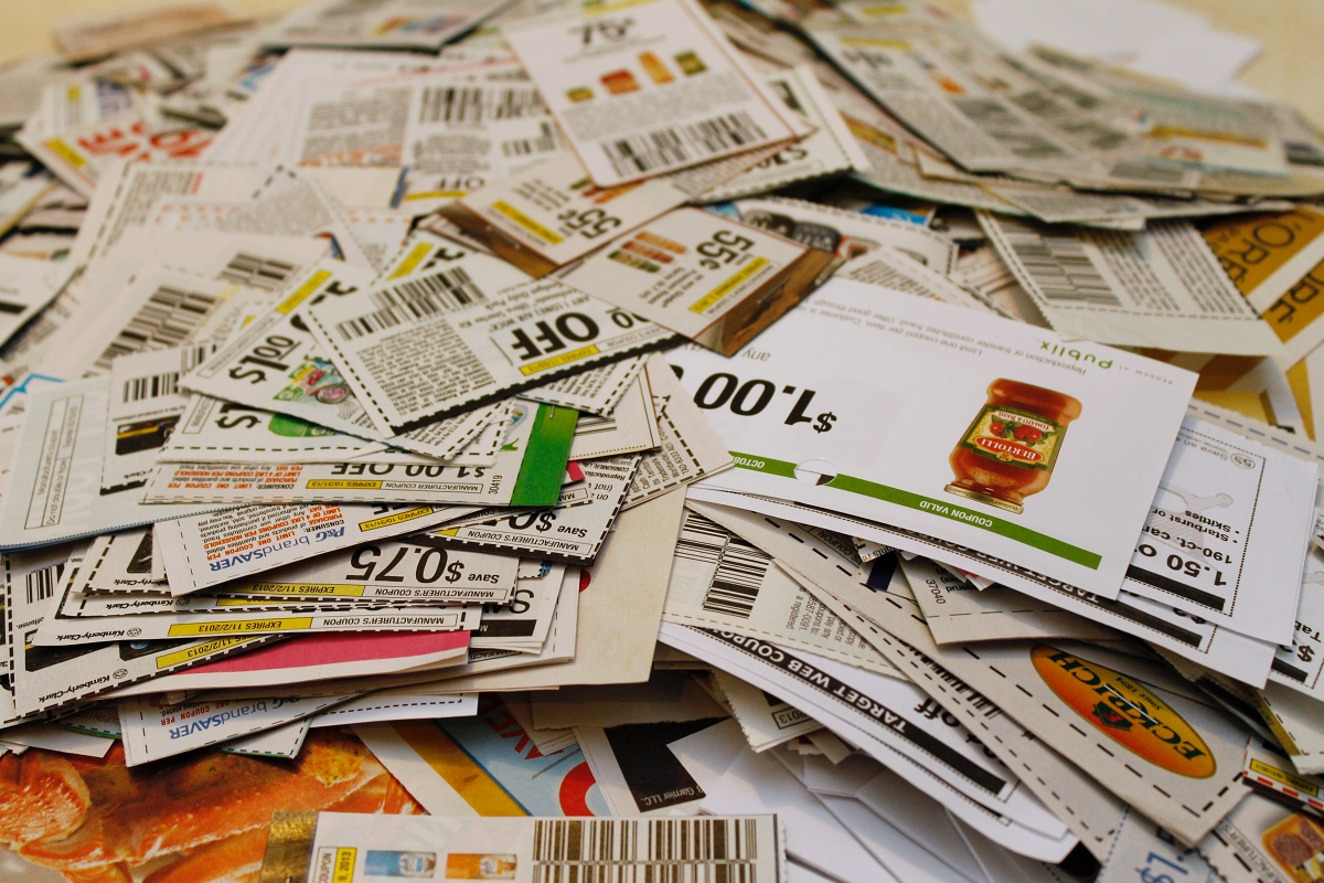 large pile of coupons