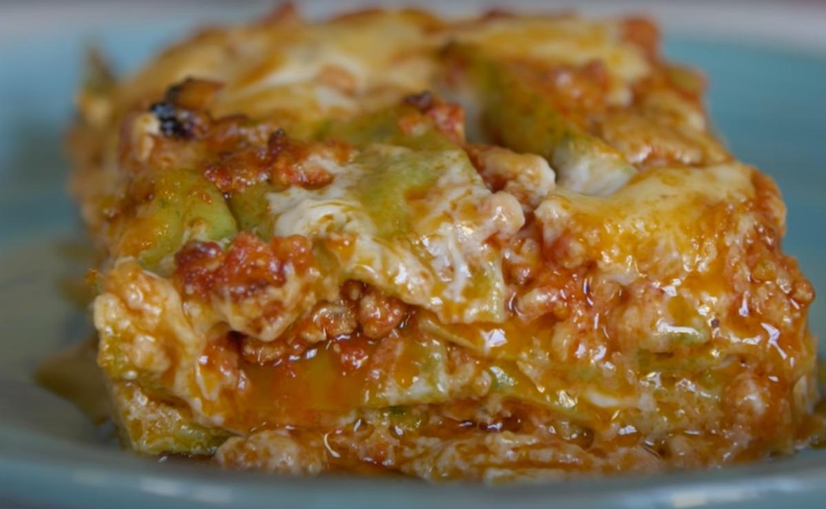 homemade 3 color lasagna in Italy