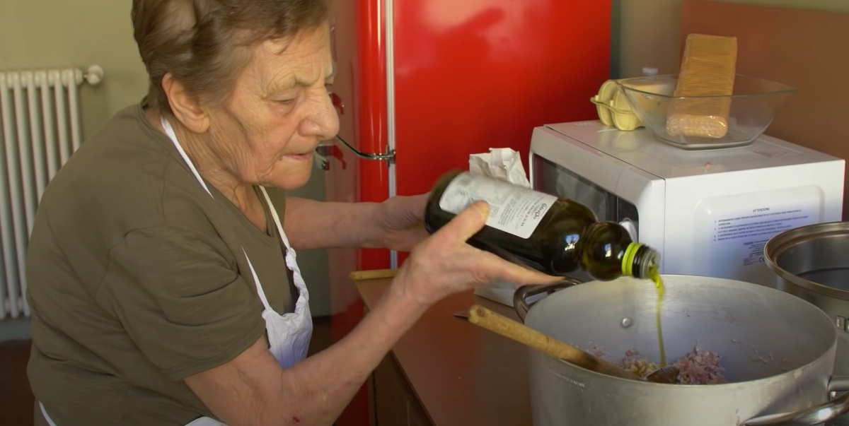 91-year-old woman making pasta from scratch