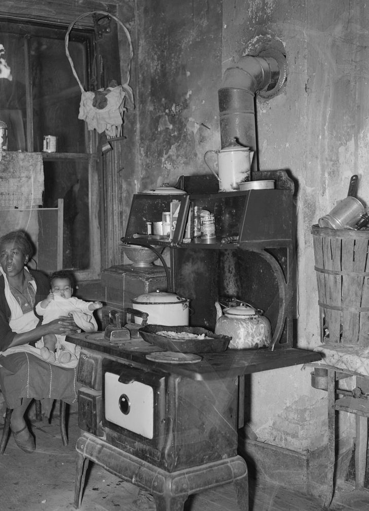 rural family in their kitchen during the Great Depression
