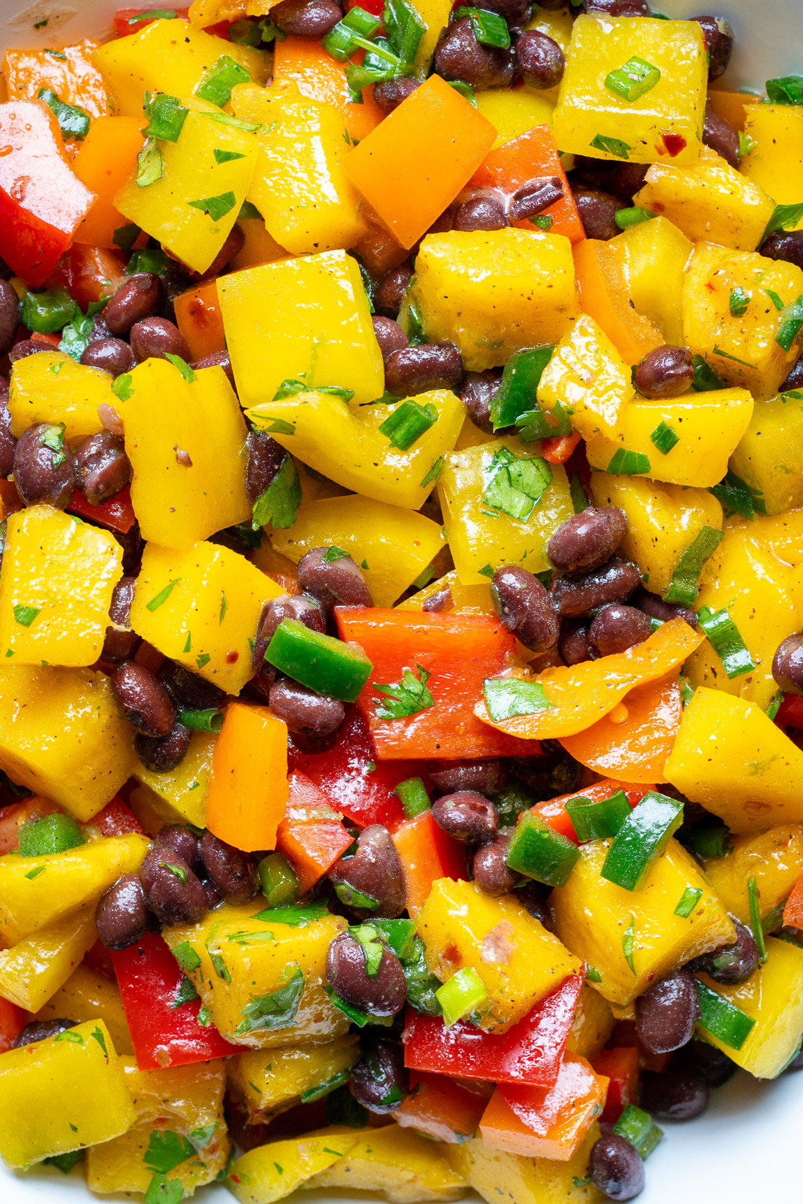Ultra close up of mangos, black beans, red peppers, and cilantro in a bowl