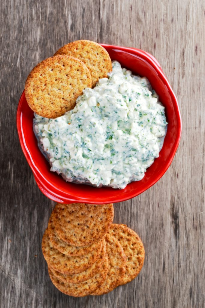 Top down shot of red bowl filled with cottage cheese dip. Crackers on the side.