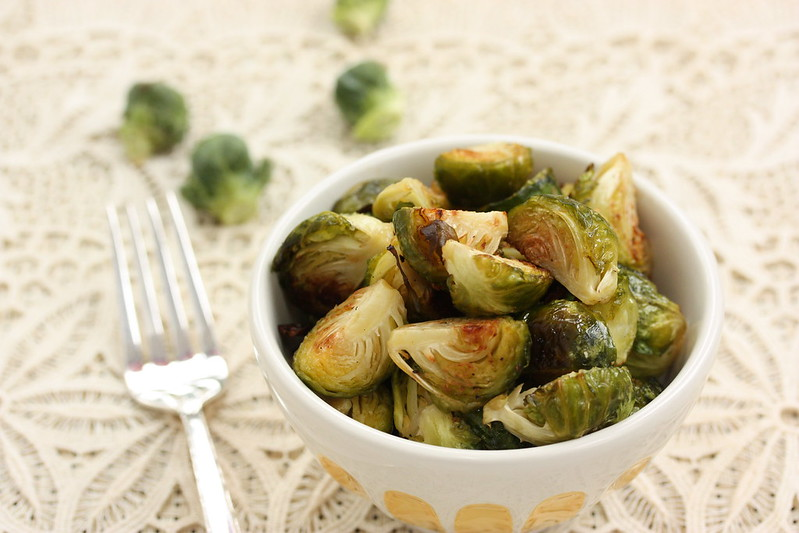 Bowl of chopped Brussels sprouts, lightly toasted