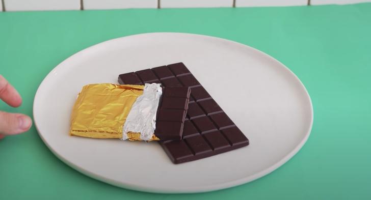 chocolate bar on plate