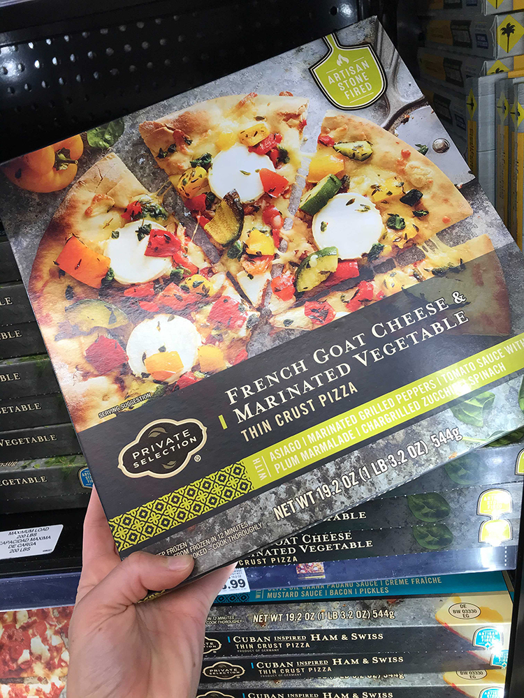 Box of frozen pizza from Kroger