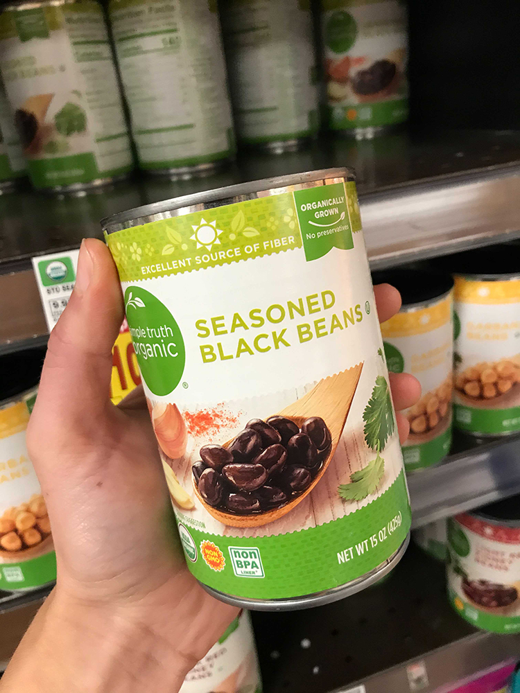 Can of seasoned black beans