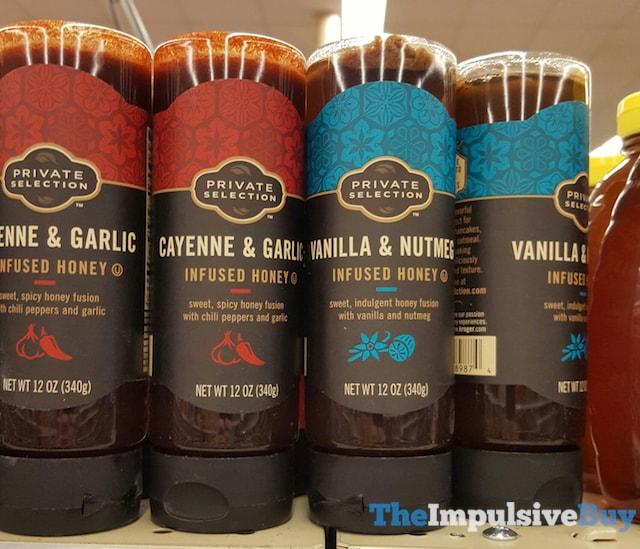Bottles of honey on a shelf