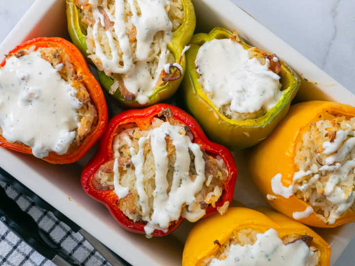 Stuffed peppers with chicken and ranch on top