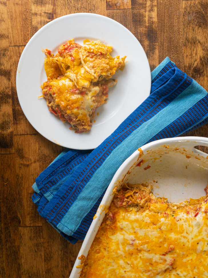 A plate of cheesy chicken casserole