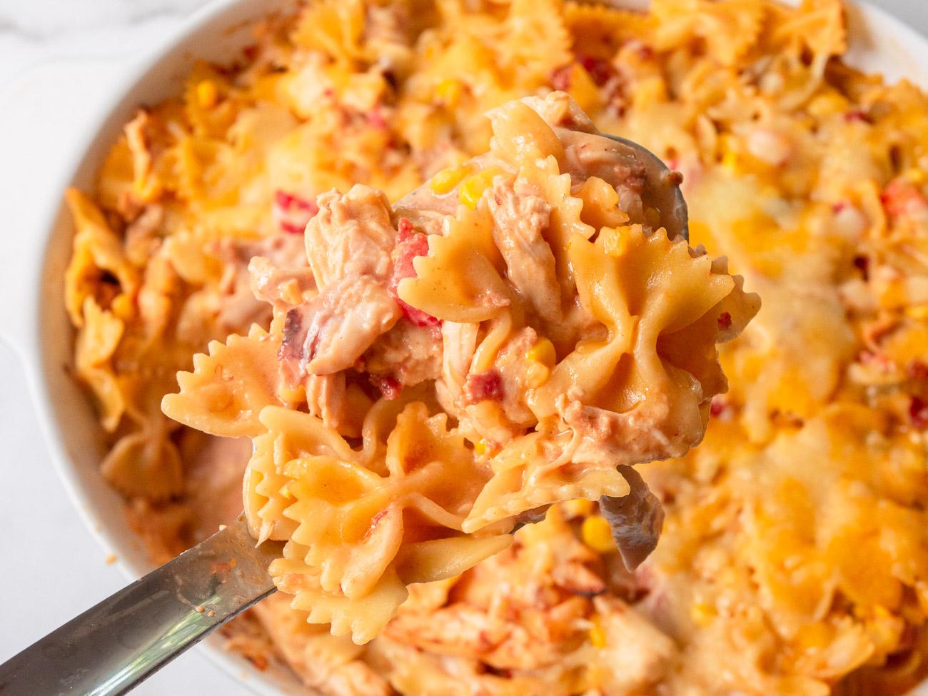Close up of cheesy bowtie pasta casserole