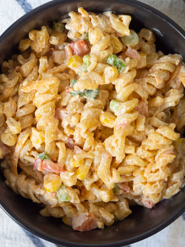 Close up top down of spiral pasta and creamy sauce