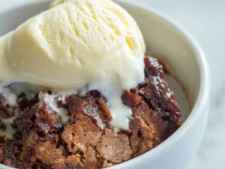 Bowl of chocolate cobbler and ice cream