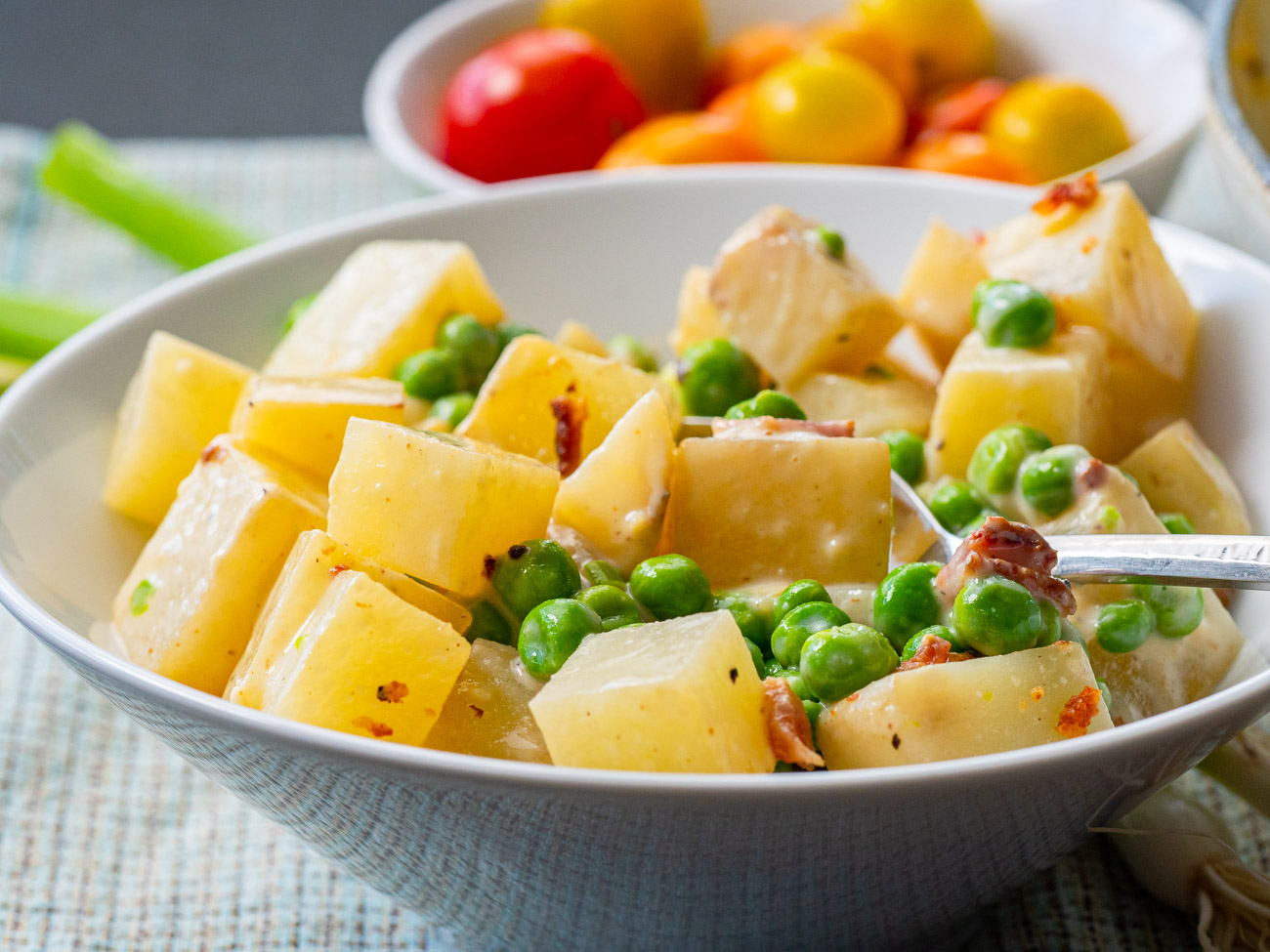 Bowl of creamed peas and potatoes