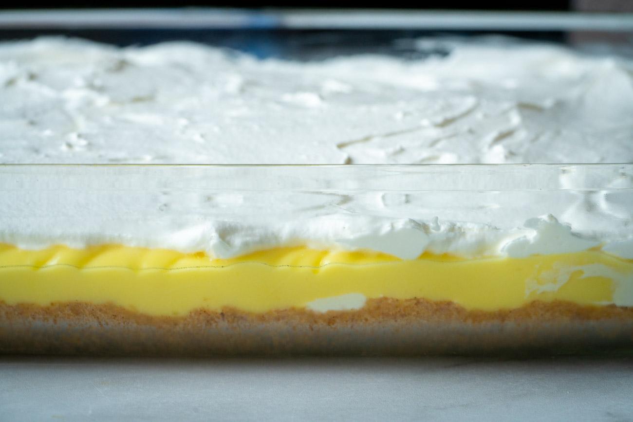 Side shot of lemon lush layers