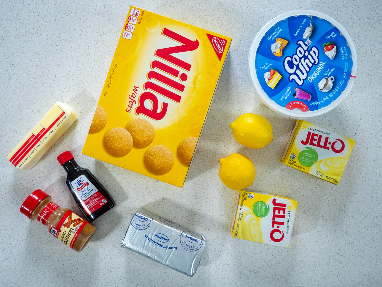 Ingredients laid out for lemon lush