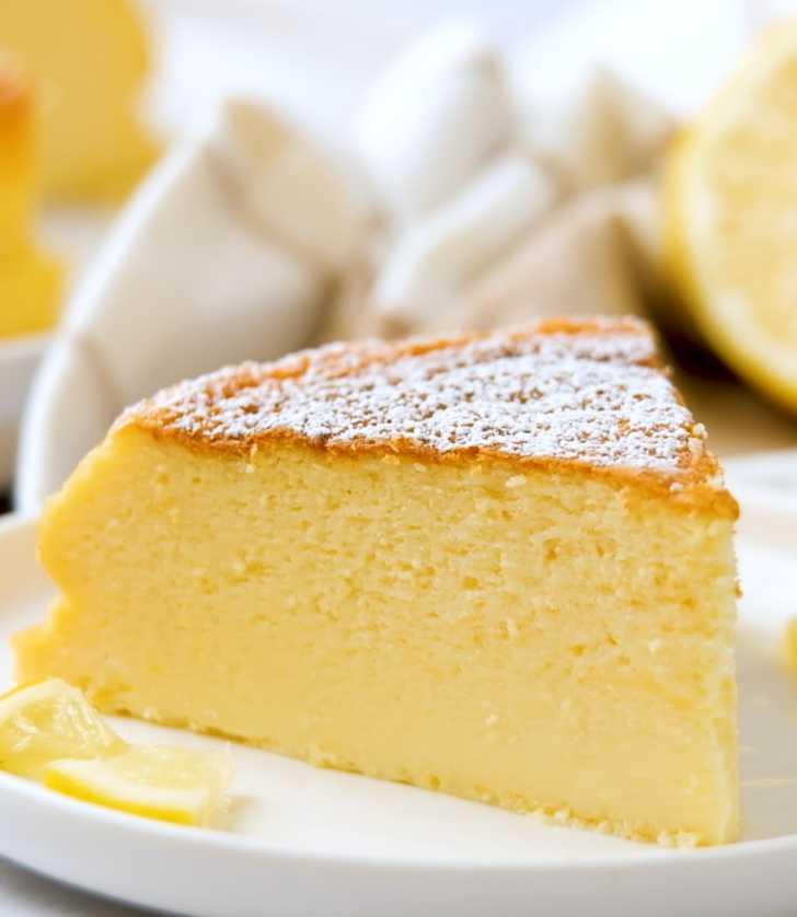 Slice of lemon souffle cheesecake