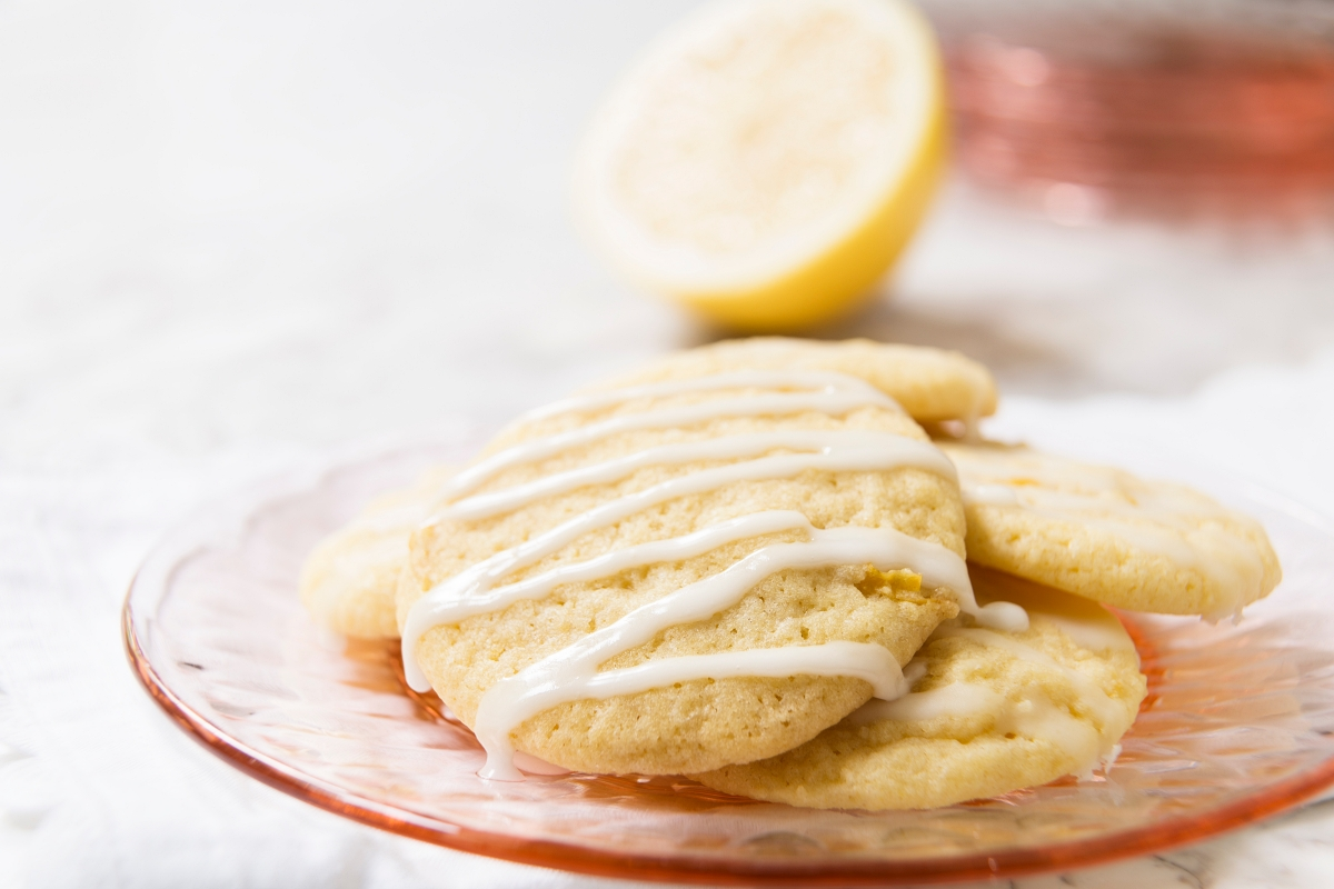 Plate of lemon cookies with icing