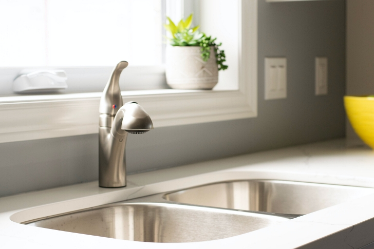 clean kitchen sink and countertop