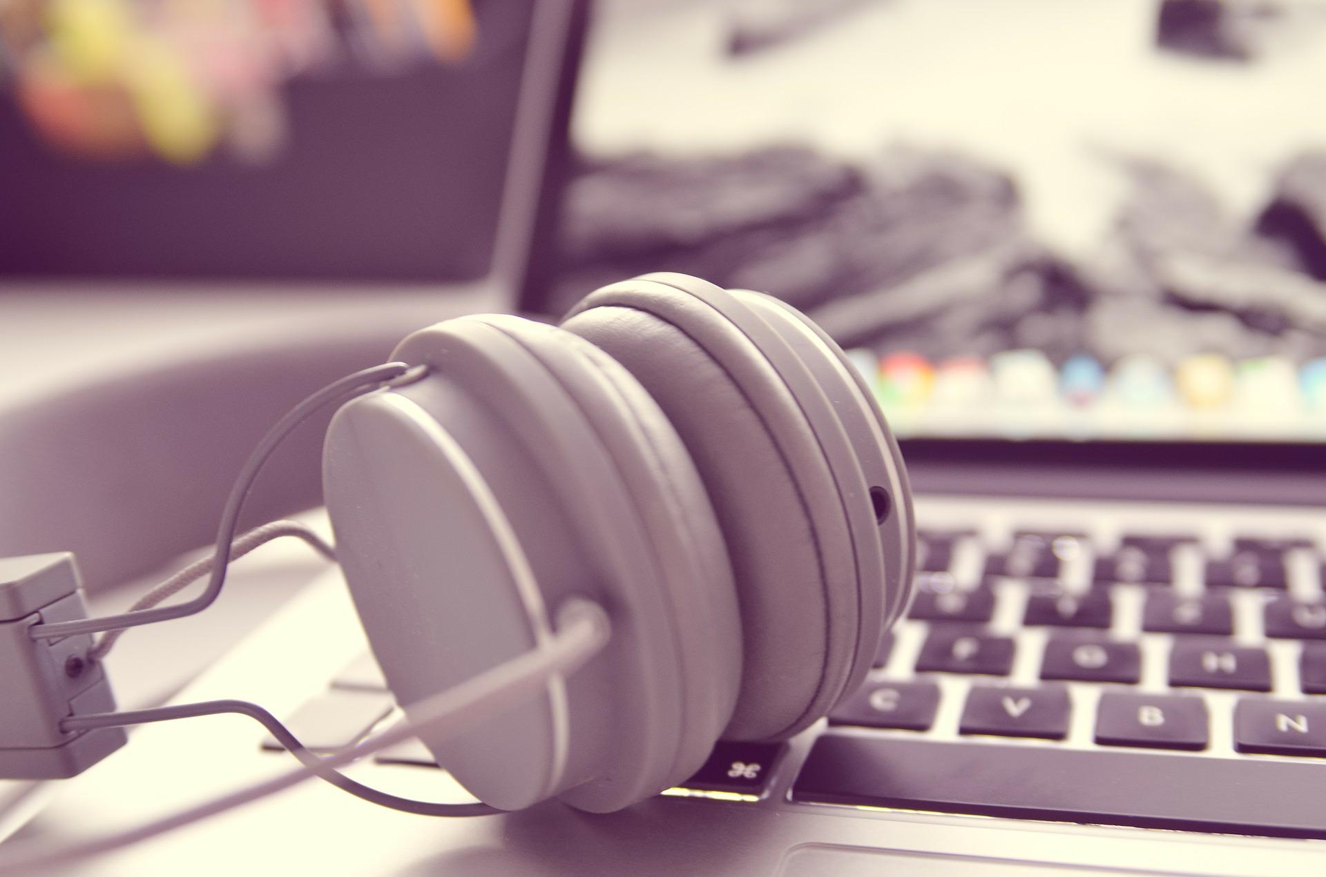 headphones and laptop