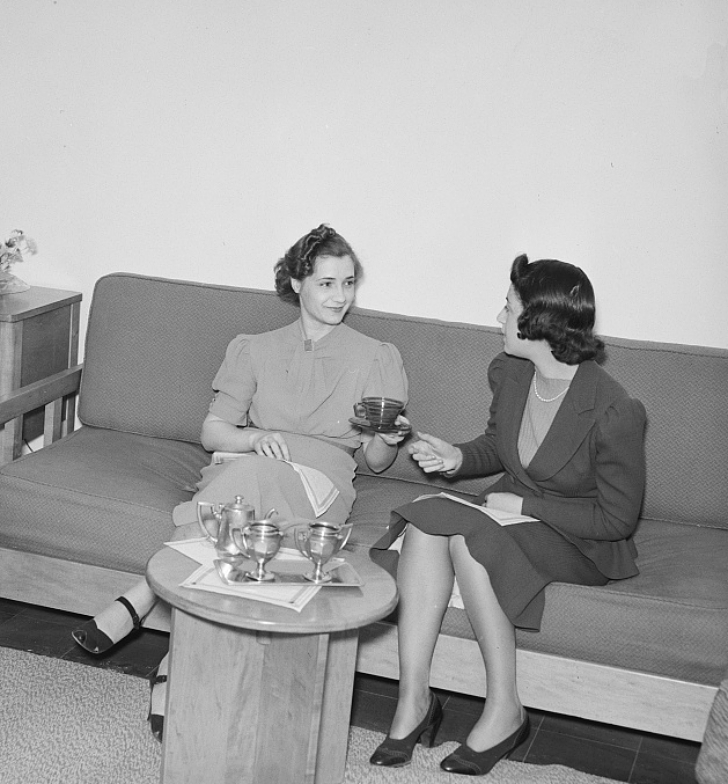 two women having tea together, late 1930s