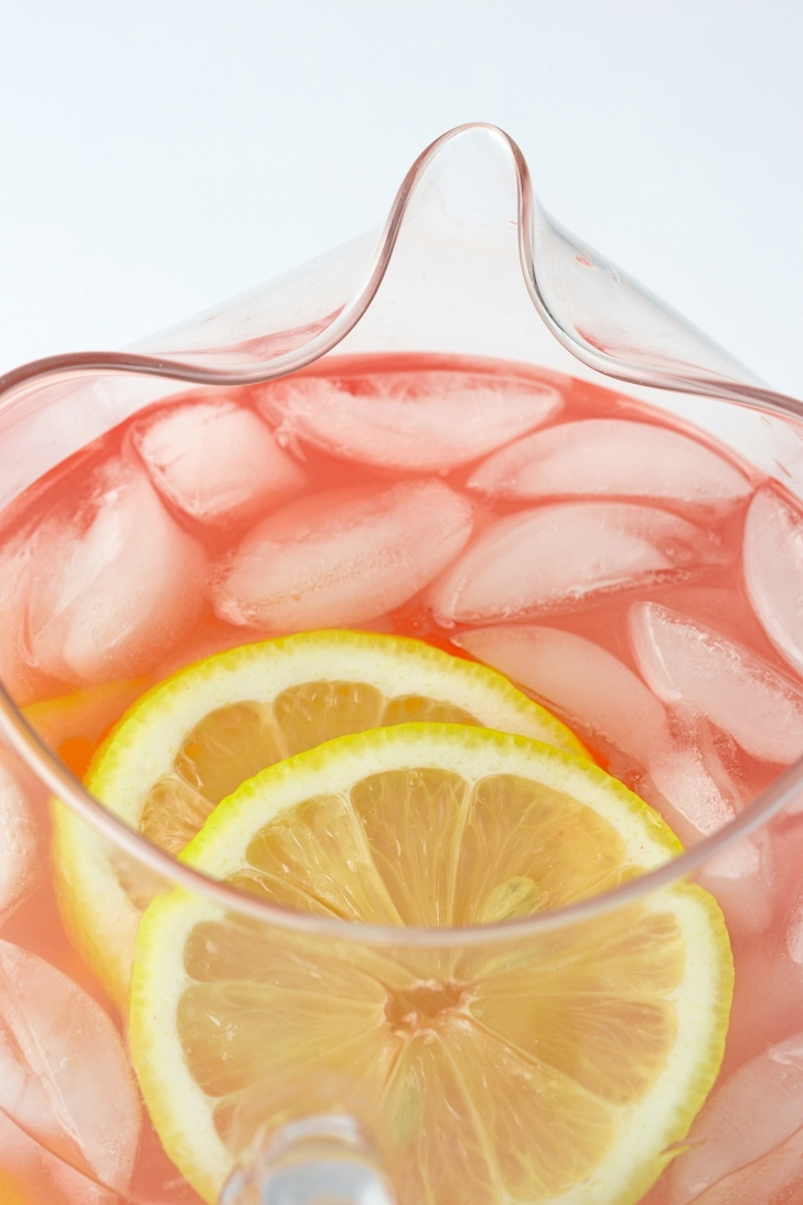 Pink Lemonade in a pitcher with ice