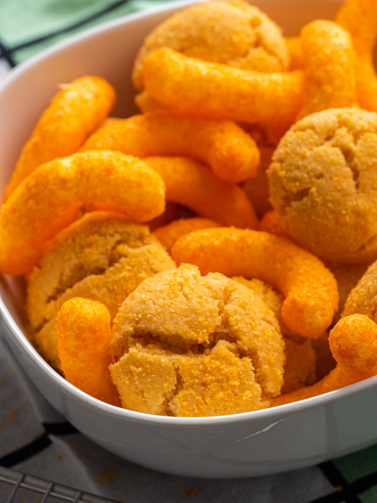 Cheetos cookies in a bowl with cheetos