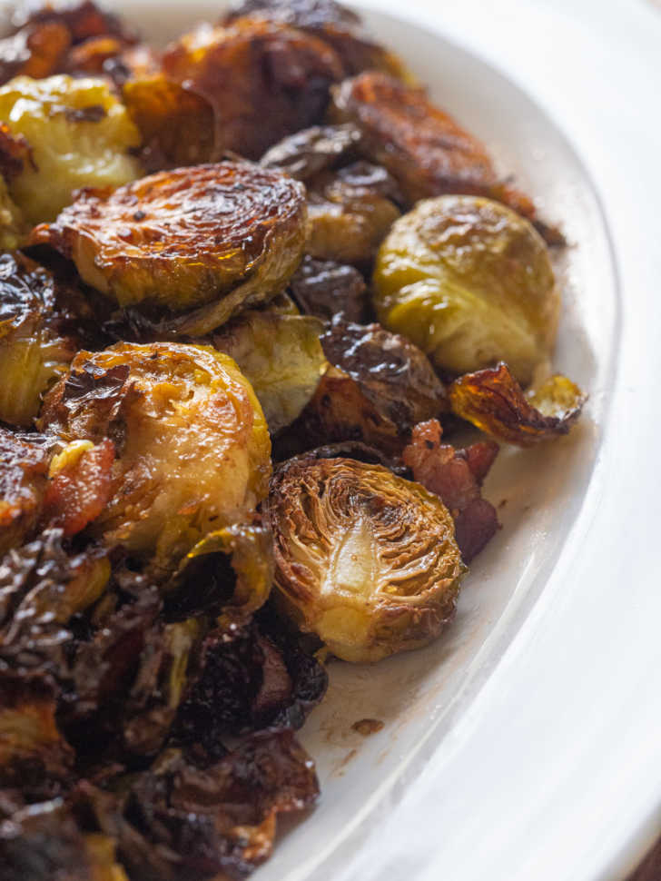 Bowl of crispy brussles sprouts and bacon