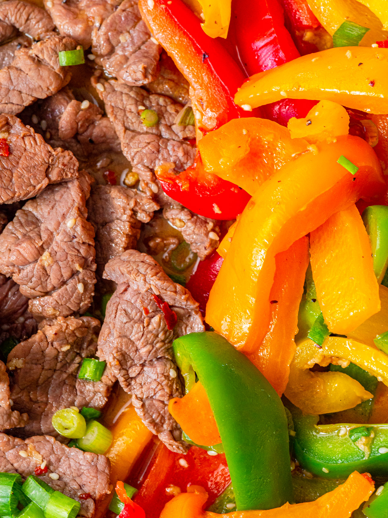 Close up of peppers and steak