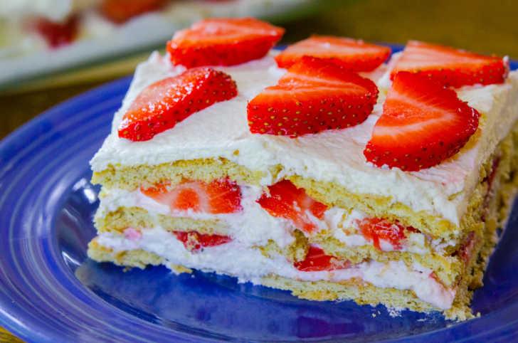 Slice of strawberry icebox cake