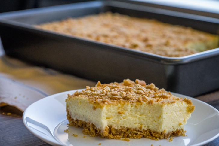 Side view of cheesecake icebox cake