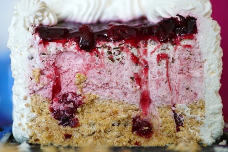 close up of layers on a cherry icebox cake