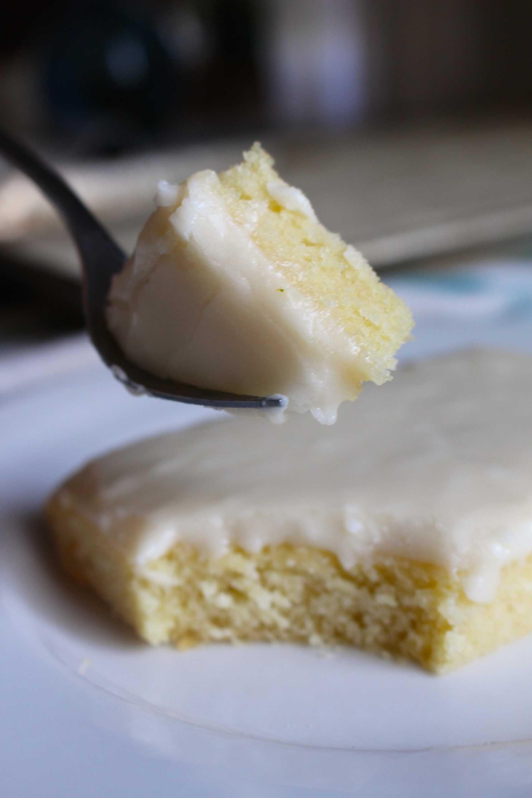 Bite of white texas sheet cake