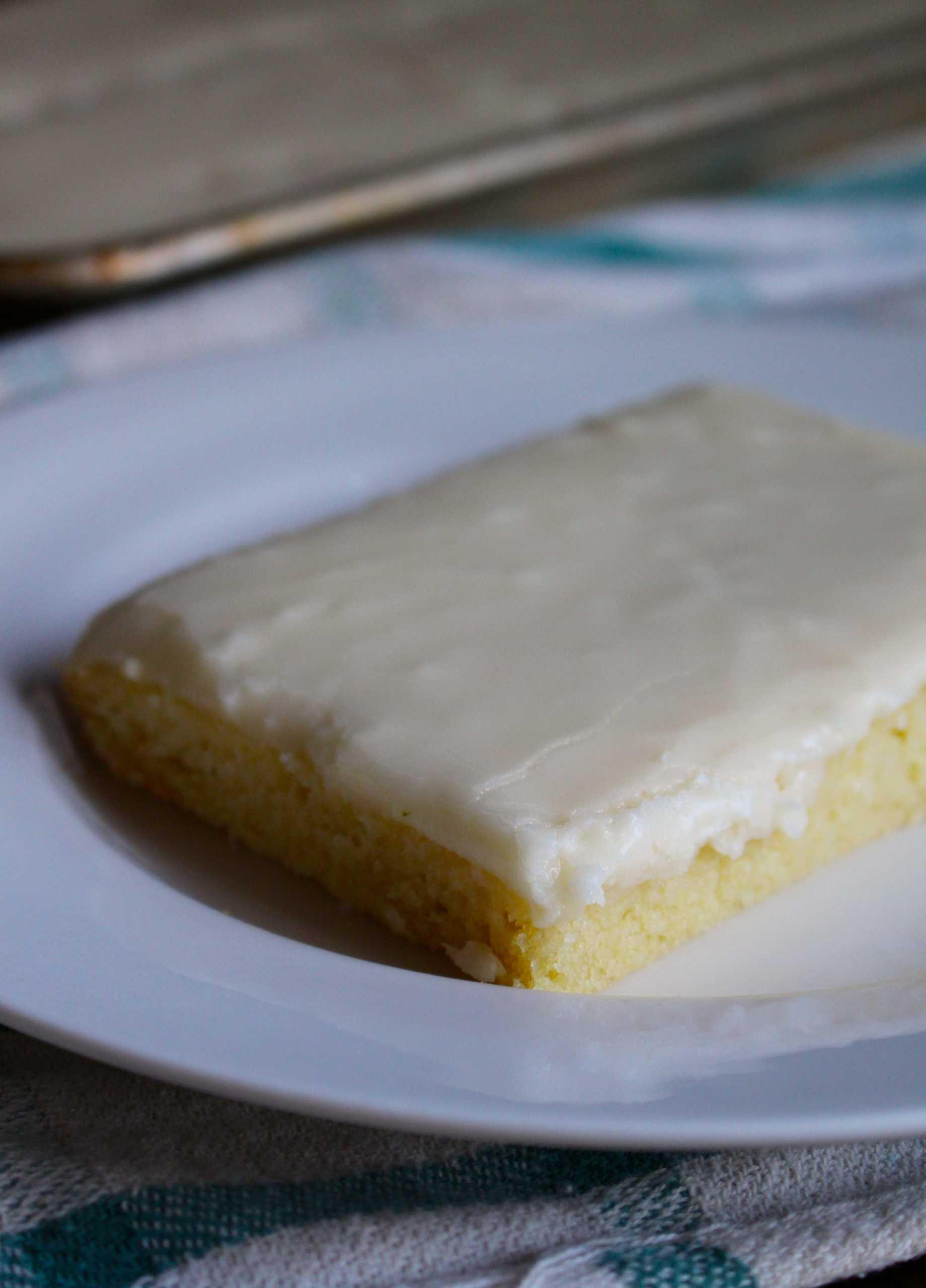 White Texas Sheet Cake in pan