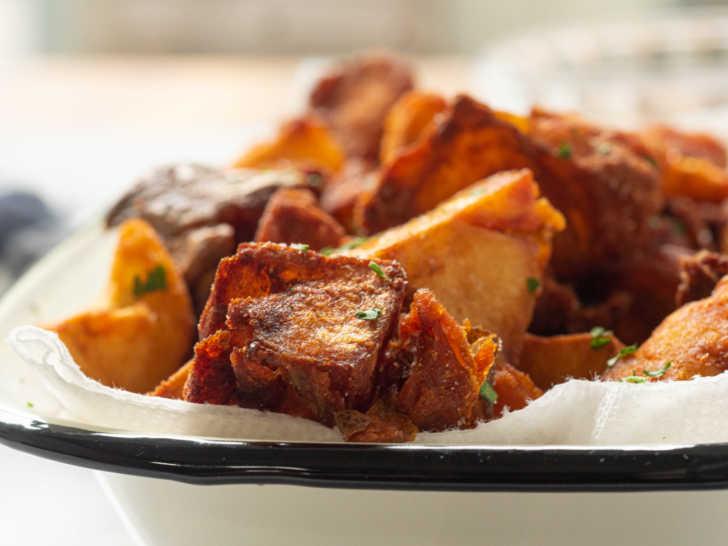 Plate of crispy fried potatoes