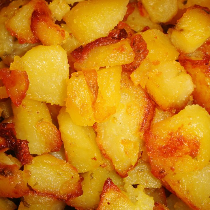 Close up of diced crispy potatoes