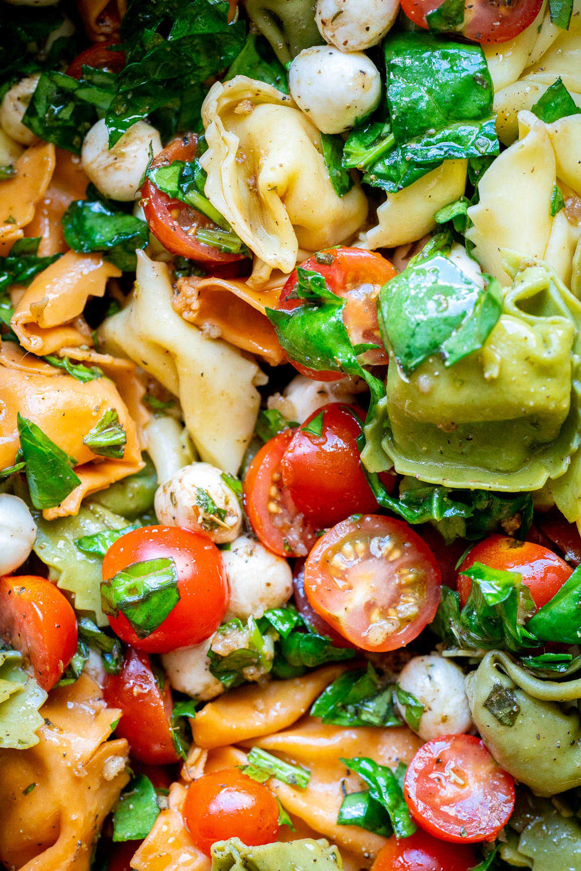 Close up of tortellini salad