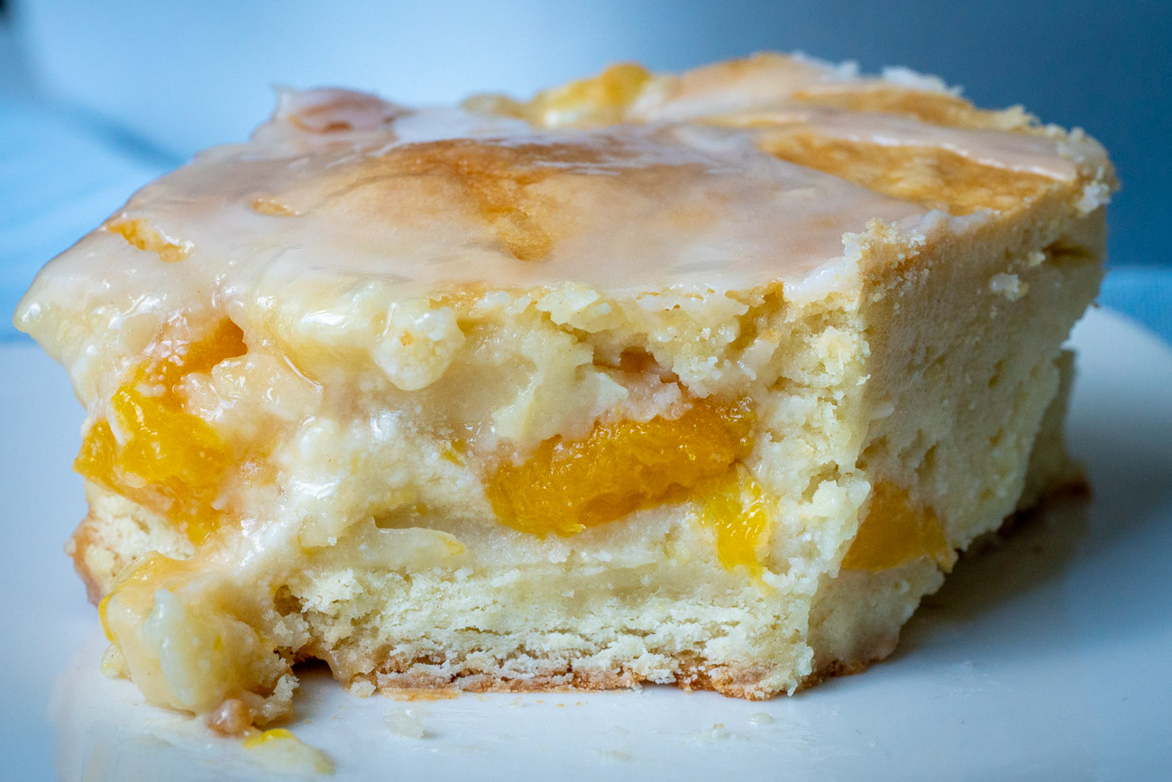 Side shot of peaches and cream bars