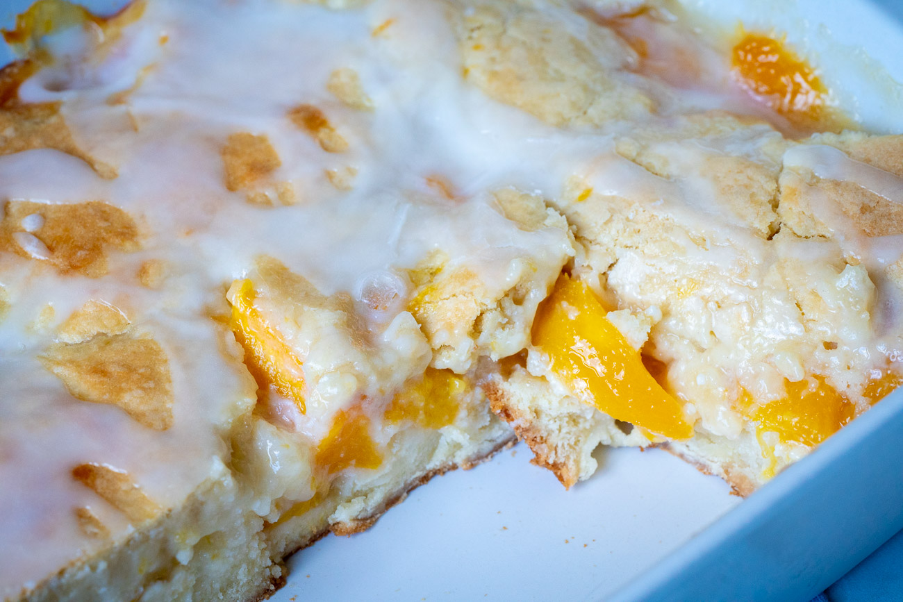 close up of peaches and cream bars pan