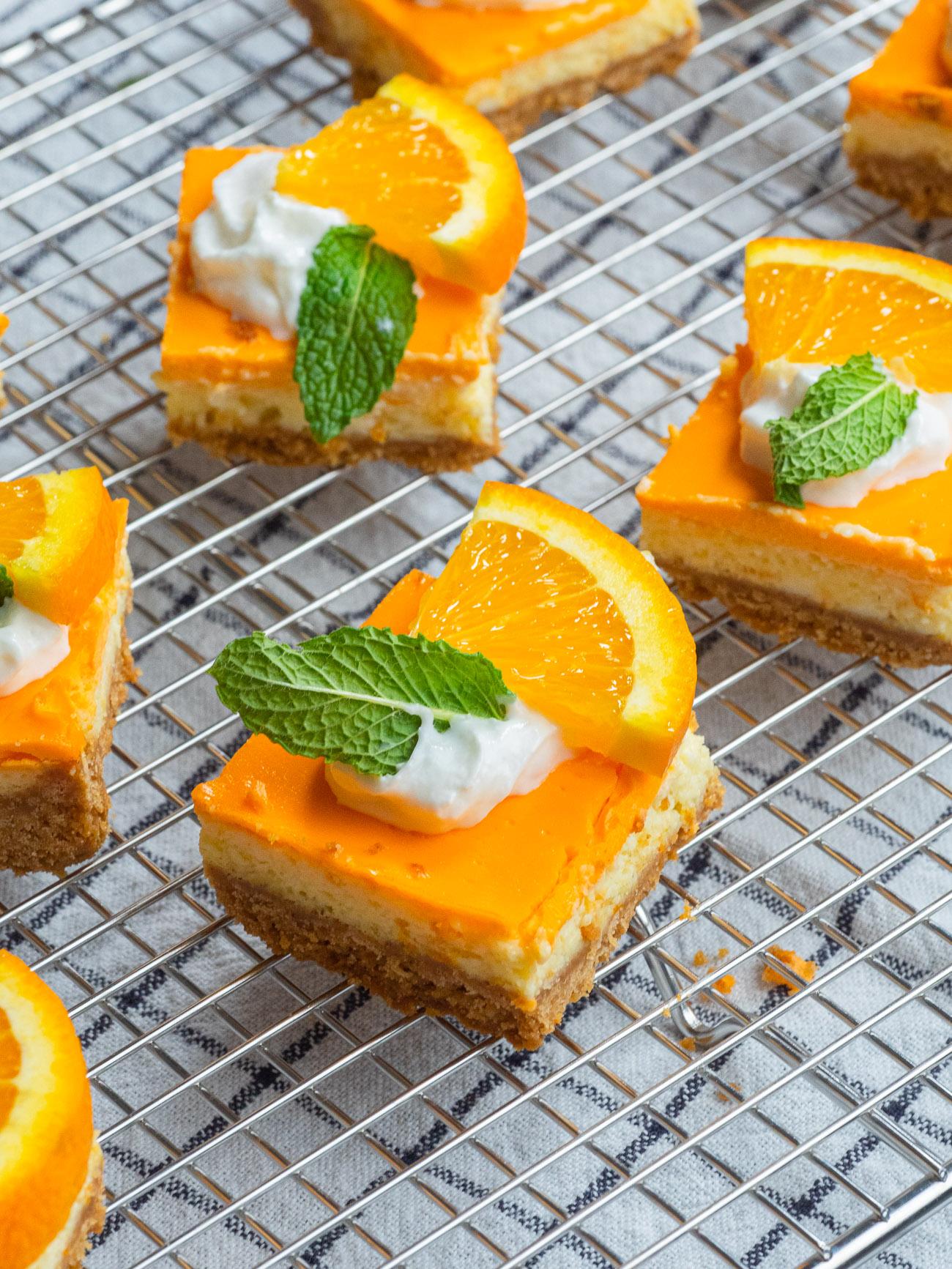 Pan of orange creamsicle bars