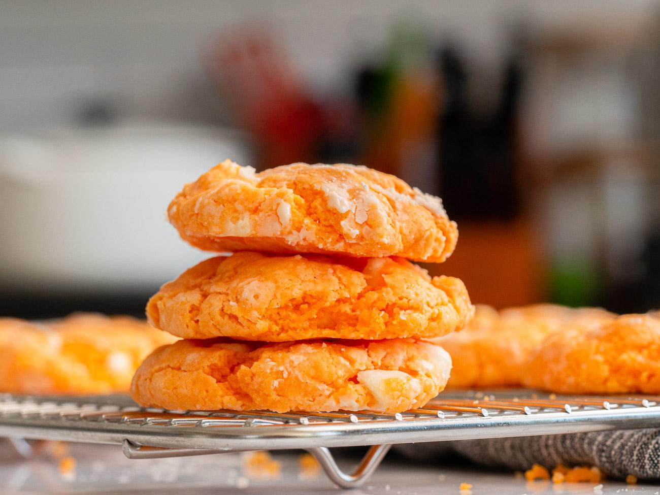 Stack of orange creamsicle cookies