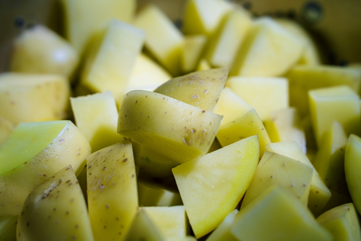 pile of diced potatoes