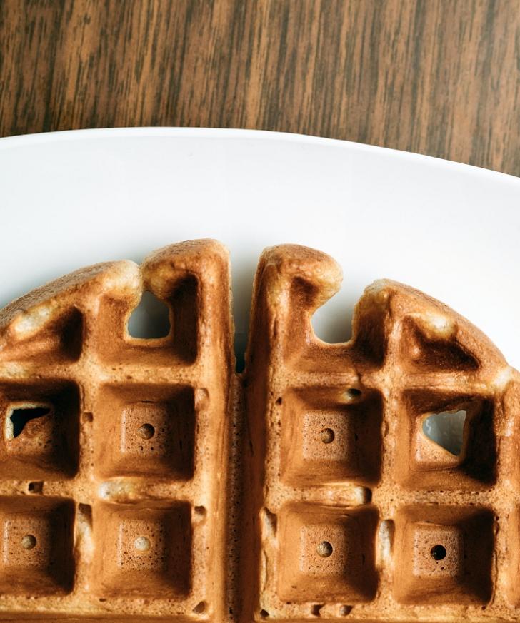 waffle on white palte