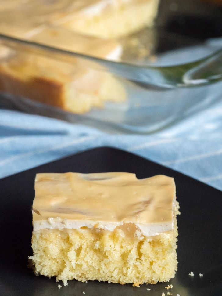 side shot of pear sour cream sheet pan cake