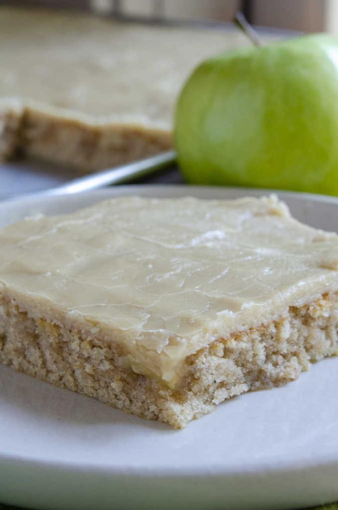 Slice of caramel apple sheet cake