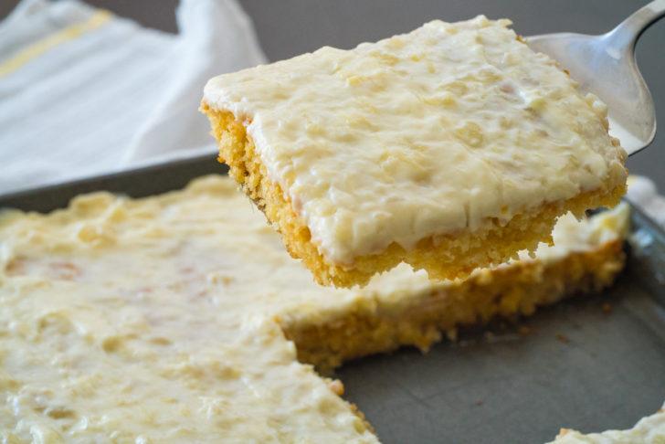 Scoop of sunshine sheet cake