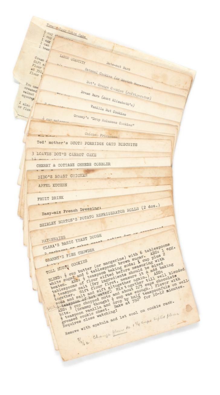 recipe cards of Sylvia Plath