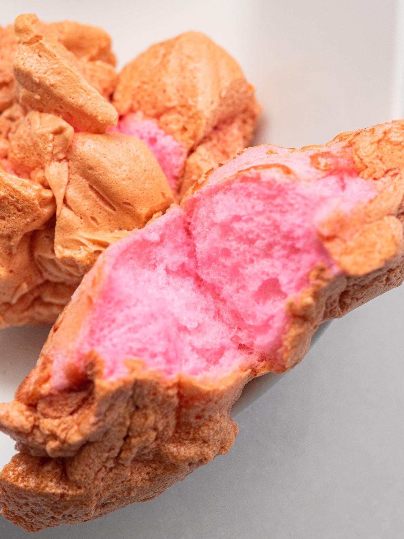 Top down of pink cloud bread