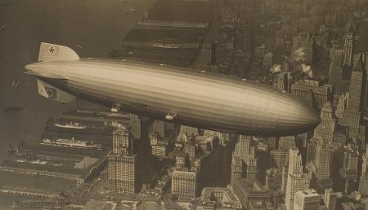 Hindenburg flying over NYC in 1936
