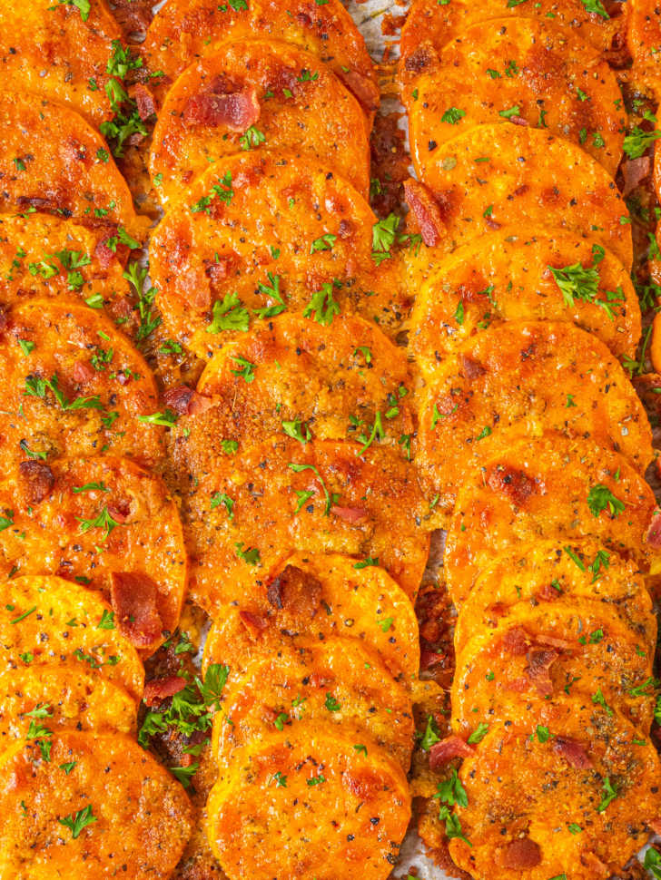 top down of sweet potatoes and garlic