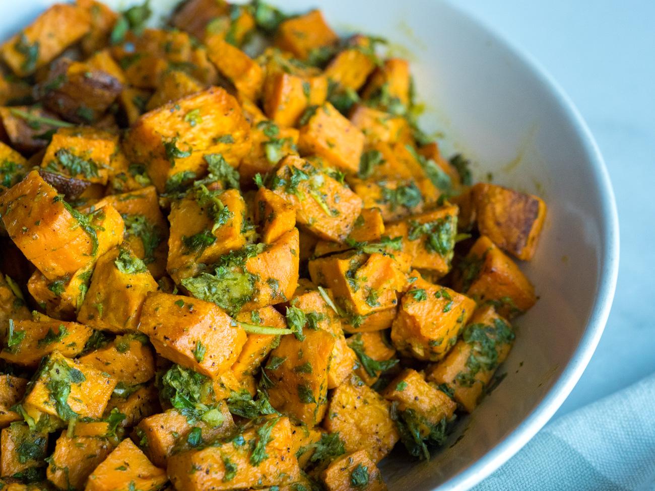 Dish of roasted sweet potatoes
